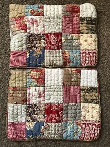 Pottery Barn Providence Patchwork Standard Quilted Shams 20X26 Floral Farmhouse