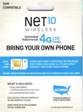 Net10 SIM Card AT&T Compatible + Unlimited Service  $35 @ Month WITHOUT CONTRACT