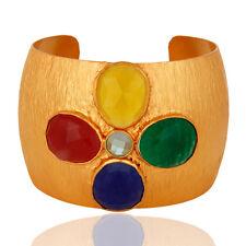 18K Gold Plated Brass Handcrafted Aventurine Gemstone Wide Cuff Bracelet Jewelry