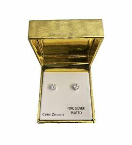 Cubic Zirconia Stud Earrings Sterling Silver