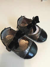 Cole Haan Pewter & Black Patent Infant Mary-JAne Girl's Ballet Shoes size 1