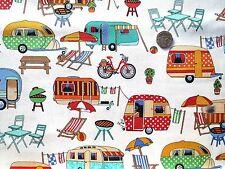 Getaway Caravans picnic barbq etc fabric fq 50cmx56cm Nutex 89510-1 100% Cotton
