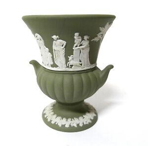 "Wedgwood Sacrifice Motif Sage Green Jasperware 3.25"" Footed Vase 1972"