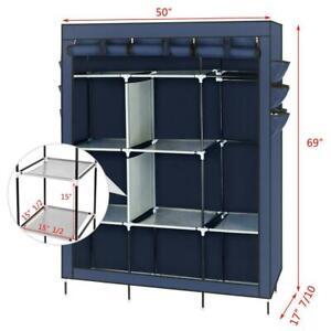"Portable 69"" Closet Storage Organizer Wardrobe Clothes Shoe Rack with Shelves US"