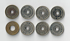 Lot of 8 Property of O.K. Vender Etc holed Coin Op token 21mm nickel size OK