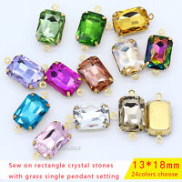 25pc 13x18mm rectangle Vintage Glass crystal Octagon pendants Connectors beads