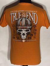 Tennessee Volunteers Football SEC College True to the End Skull Orange T-shirt