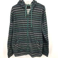 Men's Oakley Hoodie Medium Jacket Gray Stripe Zipper Front Pockets