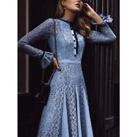 PUL Designer Inspired Summer New Fashion Women Blue Lace Long Sleeve Party Dress