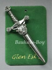 """GlenEsk KILT PIN PEWTER HIGHLAND COW """"MUCKLE COO"""" MADE IN THE UK  MENS POLISHED"""