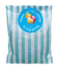 Azul y blanco bolsas papel fiestas & 60mm globo pegatinas - 24 de cada en pack