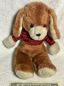 "Vintage 1982 Avon Cosmetics Brown Plush Stuffed 12"" Dog Toy with Zippered Jacket"