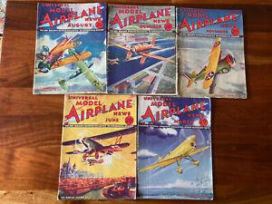 LOT OF 5 VINTAGE UNIVERSAL MODEL AIRPLANE NEWS MAGAZINES 1930'S