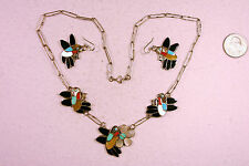 ZUNI INDIAN ELLA PIA HUMMINGBIRD Necklace Earrings Sterling Turquoise Coral Jet