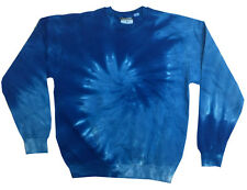 Tie Dye Blue Light Blue Crew Neck Fleece Adult S-3XL 80% Cotton Long Sleeve