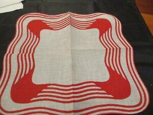 Vintage unused Red & white linen geometric hanky handkerchief. hand rolled