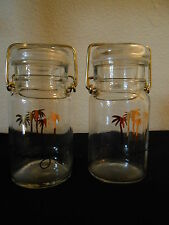 MIRAGE LAS VEGAS CANISTERS Canning Glass Jars GOLD PALM TREE LOGO FREE SHIPPING!