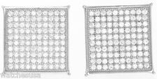 13mm Square Stud Unisex Earrings Sterling Silver White Cz Stones