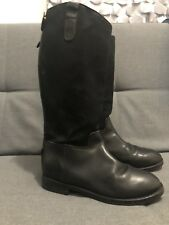 EUC RALPH LAUREN girls Leather Canvas Boots Sz 3.5 Euro 34.5