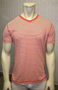 LULULEMON Men's 5 Year Basic V-neck Tee Striped Cotton Short Sleeve Shirt L, XL