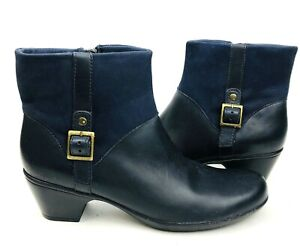 Clarks Womens Ankle Boot Blue 8 Narrow Leather Bendable Ingalls DoverQ Side Zip