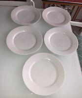 "CRATE & BARREL~Set of 5 Dinner Plates~10 3/4""~Wide Rim (2')~Smooth~Sri Lanka"