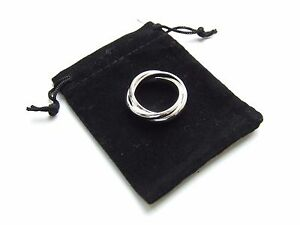 Silver Three Circles Ring - Black Velvet Gift Pouch - UK Seller