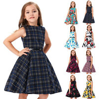 Girls 50s Vintage Floral Swing Pinup Bridesmaid Kids Brithday Party Dance Dress*