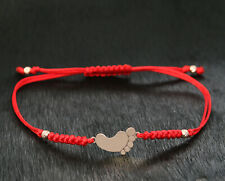 9ct Gold Baby Feet Red String Cord Adjustable 6 - 8 Inch Bracelet