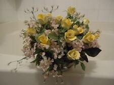 Vintage 80's Yellow Rose Flower Porcelain bouquet