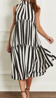 black&white striped midi dress   john zack size 8 10 12 14
