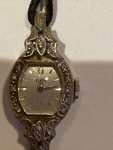 Vintage 14k White Gold Diamond Ladies Elgin Watch Jewels