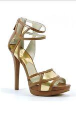 Michael Kors Jaida Back Zip Cut Out Platform Luggage Brown Gold Sandal 9.5 M New