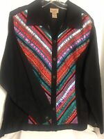 Choices Woman Black Embellished w Colorful Ribbon Stripes Button Down Shirt 1X