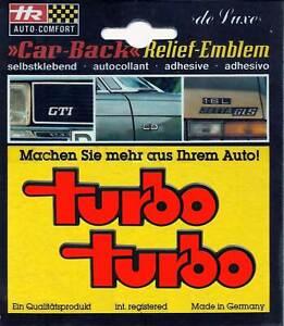 2 x original 1982 turbo 3D Schild Relief Emblem rot á 87 x 27 mm selbstklebend