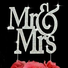 Large Mr & Mrs Monogram Silhouette Rhinestone Crystal Wedding Cake Toppers