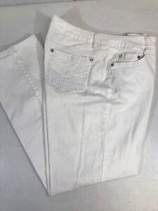 Code Bleu Women's GWEN Straight Leg White Beaded Embellished Stretch Jeans Sz 16