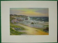 """""""Pacific Sunset"""" by Oliver Glen Barrett Ocean Beach Vintage 1943 Lithograph Mint"""