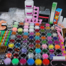 78 Acrylic Powders Nail Art Set Acrylic Liquid Tips Brush Glue Dust Kits-US Post