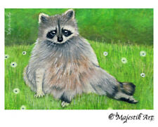"Racoon Raccoon Wildlife ACEO Print ""Lazy Days"" By V Kenworthy"