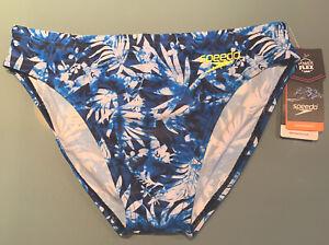 """SPEEDO PowerFlex Eco SOLAR 1"""" Swim Brief, Size 32, Blue Print, NWT, MSRP $38"""