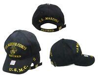 U.S. United States Marine Corps Retired Black Hat Cap USMC Embroidered Marines