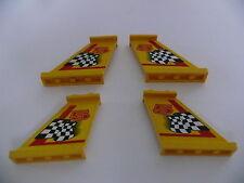Lego 4 queues d avion jaunes set 8225/ 4 yellow tails w/ stickers (left & right)