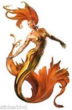 Sexy Elegant Red Gold Seaweed Tail Golden Pasties Fire Mermaid Vinyl Sticker