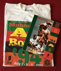 Vintage 1994 Muhammad Ali Indiana Black Expo Boxing Program & Large T-Shirt
