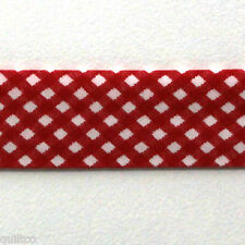 BIAS BINDING - RED & WHITE - 25mm Wide - Cross Check Pattern - Q132 - Patchwork
