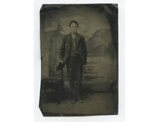 TINTYPE STUDIO PORTRAIT BOY/YOUNG MAN W/ POCKET WATCH CHAIN