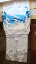 GIRL'S HIP-HOP DANCE COSTUME SIZE S/M WHITE WITH TURQUOISE/BLUE