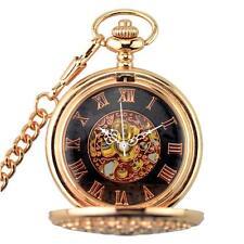 Mens Vintage Skeleton Mechanical Pocket Watch Chain Wedding Gift Rose Gold