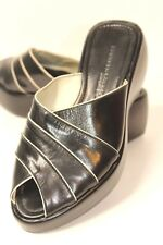 Kenneth Cole NY Women's Size 6 M Black/White Leather Slip-on Peep-toe Wedge Heel